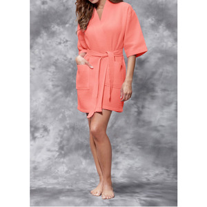 Women's Square Pattern Waffle Kimono Robe - Short Length | Color: Coral | Material: 65% Natural Cotton 35% Polyester | Available Sizes: SmallMedium Large XX-Large (7063COR)