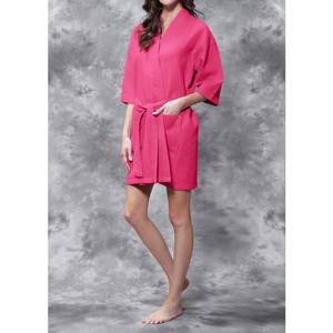 Women's Square Pattern Waffle Kimono Robe - Short Length | Color: Fuchsia | Material: 65% Natural Cotton 35% Polyester | Available Sizes: SmallMedium Large XX-Large (7063FUS)