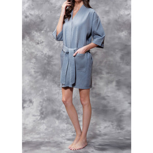 Women's Square Pattern Waffle Kimono Robe - Short Length | Color: Gray | Material: 65% Natural Cotton 35% Polyester | Available Sizes: SmallMedium Large XX-Large (7063GRY)