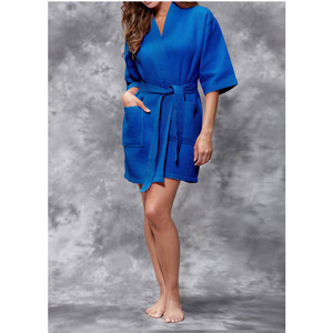 Women's Square Pattern Waffle Kimono Robe - Short Length | Color: Lapis Blue | Material: 65% Natural Cotton 35% Polyester | Available Sizes: SmallMedium Large XX-Large (7063LBLUE)