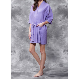 Women's Square Pattern Waffle Kimono Robe - Short Length | Color: Lavender | Material: 65% Natural Cotton 35% Polyester | Available Sizes: SmallMedium Large XX-Large (7063LAV)