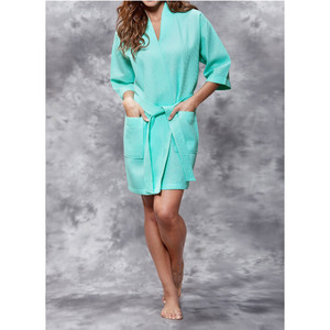 Women's Square Pattern Waffle Kimono Robe - Short Length | Color: Mint Green | Material: 65% Natural Cotton 35% Polyester | Available Sizes: SmallMedium Large XX-Large (7063MNT)