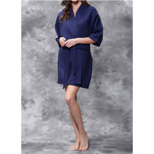 Women's Square Pattern Waffle Kimono Robe - Short Length | Color: Navy Blue | Material: 65% Natural Cotton 35% Polyester | Available Sizes: SmallMedium Large XX-Large (7063NAVY)