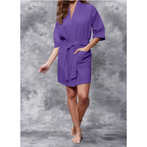 Women's Square Pattern Waffle Kimono Robe - Short Length | Color: Purple | Material: 65% Natural Cotton 35% Polyester | Available Sizes: SmallMedium Large XX-Large (7063PUR)