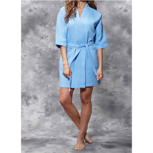 Women's Square Pattern Waffle Kimono Robe - Short Length | Color: Serenity Blue | Material: 65% Natural Cotton 35% Polyester | Available Sizes: SmallMedium Large XX-Large (7063SBLUE)
