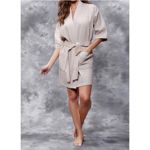 Women's Square Pattern Waffle Kimono Robe - Short Length | Color: Taupe | Material: 65% Natural Cotton 35% Polyester | Available Sizes: SmallMedium Large XX-Large (7063TAU)
