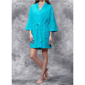 Women's Square Pattern Waffle Kimono Robe - Short Length | Color: Turquoise | Material: 65% Natural Cotton 35% Polyester | Available Sizes: SmallMedium Large XX-Large (7063TUR)