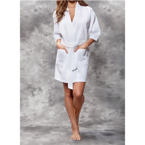 Women's Square Pattern Waffle Kimono Robe - Short Length | Color: White | Material: 65% Natural Cotton 35% Polyester | Available Sizes: SmallMedium Large XX-Large (7063WHT)