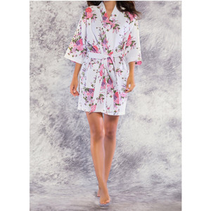 Women's Square Pattern Waffle Kimono Robe - Short Length | Color: White Floral | Material: 65% Natural Cotton 35% Polyester | Available Sizes: SmallMedium Large XX-Large (7763WHT)