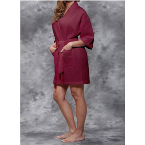 Women's Square Pattern Waffle Kimono Robe - Short Length | Color: Wine Red | Material: 65% Natural Cotton 35% Polyester | Available Sizes: SmallMedium Large XX-Large (7063WRED)