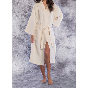 Unisex Square Pattern Waffle Kimono Robe - Long Length | Color: Beige | Material: 65% Natural Cotton 35% Polyester | Available Sizes: SmallMedium One Size Fits Most XX-Large (7023BEIG)