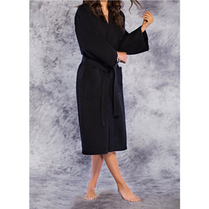 Unisex Square Pattern Waffle Kimono Robe - Long Length | Color: Black | Material: 65% Natural Cotton 35% Polyester | Available Sizes: SmallMedium One Size Fits Most XX-Large (7023BLK)