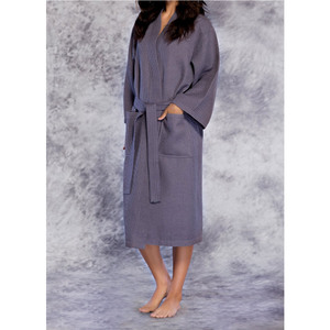 Unisex Square Pattern Waffle Kimono Robe - Long Length | Color: Charcoal | Material: 65% Natural Cotton 35% Polyester | Available Sizes: SmallMedium One Size Fits Most XX-Large (7023ANT)