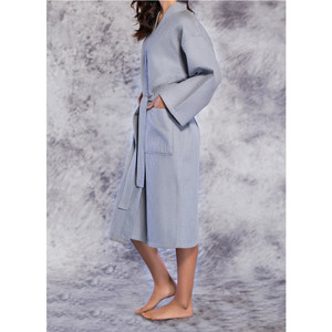 Unisex Square Pattern Waffle Kimono Robe - Long Length | Color: Gray | Material: 65% Natural Cotton 35% Polyester | Available Sizes: SmallMedium One Size Fits Most XX-Large (7023GRY)
