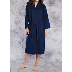 Unisex Square Pattern Waffle Kimono Robe - Long Length | Color: Navy Blue | Material: 65% Natural Cotton 35% Polyester | Available Sizes: SmallMedium One Size Fits Most XX-Large (7023NAVY)