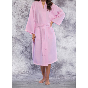 Unisex Square Pattern Waffle Kimono Robe - Long Length | Color: Pink | Material: 65% Natural Cotton 35% Polyester | Available Sizes: SmallMedium One Size Fits Most XX-Large (7023PNK)