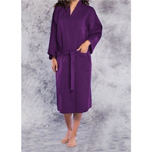 Unisex Square Pattern Waffle Kimono Robe - Long Length | Color: Purple | Material: 65% Natural Cotton 35% Polyester | Available Sizes: SmallMedium One Size Fits Most XX-Large (7023PUR)