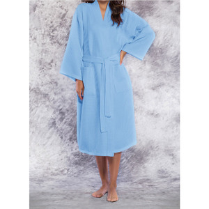 Unisex Square Pattern Waffle Kimono Robe - Long Length | Color: Serenity Blue | Material: 65% Natural Cotton 35% Polyester | Available Sizes: SmallMedium One Size Fits Most XX-Large (7023SBLUE)