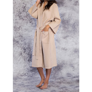 Unisex Square Pattern Waffle Kimono Robe - Long Length | Color: Taupe | Material: 65% Natural Cotton 35% Polyester | Available Sizes: SmallMedium One Size Fits Most XX-Large (7023TAU)