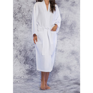 Unisex Square Pattern Waffle Kimono Robe - Long Length | Color: White | Material: 65% Natural Cotton 35% Polyester | Available Sizes: SmallMedium One Size Fits Most XX-Large (7023WHT)