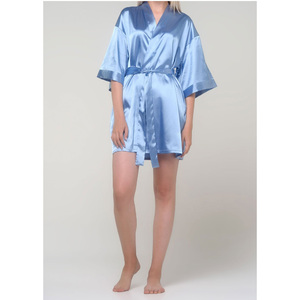 Women's Satin Kimono Short Robe | Color: Airy Blue | Material: 95% Polyester 5% Spandex | Available Sizes: SmallMedium Large XX-Large (9060ABLUE)