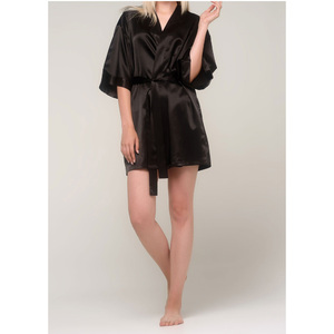 Women's Satin Kimono Short Robe | Color: Black | Material: 95% Polyester 5% Spandex | Available Sizes: SmallMedium Large XX-Large (9060BLK)