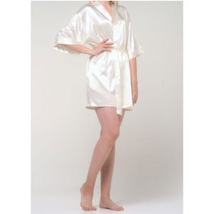 Women's Satin Kimono Short Robe | Color: Champagne | Material: 95% Polyester 5% Spandex | Available Sizes: SmallMedium Large XX-Large (9060CHA)
