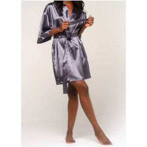 Women's Satin Kimono Short Robe | Color: Charcoal | Material: 95% Polyester 5% Spandex | Available Sizes: SmallMedium Large XX-Large (9060ANT)