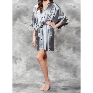 Women's Satin Kimono Short Robe | Color: Classic Gray | Material: 95% Polyester 5% Spandex | Available Sizes: SmallMedium Large XX-Large (9060GRY)