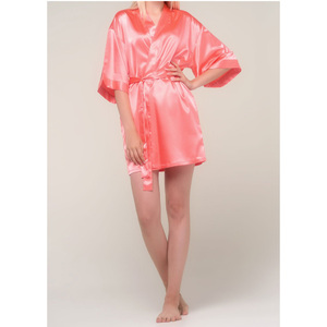 Women's Satin Kimono Short Robe | Color: Light Coral | Material: 95% Polyester 5% Spandex | Available Sizes: SmallMedium Large XX-Large (9060LCOR)