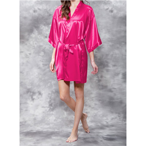 Women's Satin Kimono Short Robe | Color: Fuchsia | Material: 95% Polyester 5% Spandex | Available Sizes: SmallMedium Large XX-Large (9060FUS)