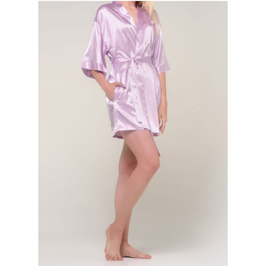 Women's Satin Kimono Short Robe | Color: Lavender | Material: 95% Polyester 5% Spandex | Available Sizes: SmallMedium Large XX-Large (9060LAV)