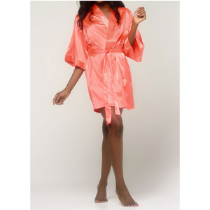 Women's Satin Kimono Short Robe | Color: Coral | Material: 95% Polyester 5% Spandex | Available Sizes: SmallMedium Large XX-Large (9060COR)