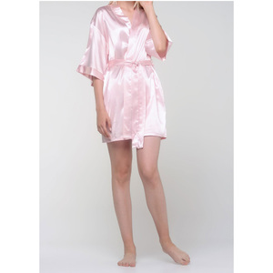 Women's Satin Kimono Short Robe | Color: Light Pink | Material: 95% Polyester 5% Spandex | Available Sizes: SmallMedium Large XX-Large (9060LPNK)