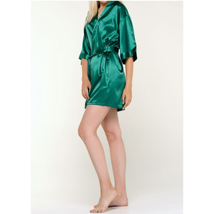 Women's Satin Kimono Short Robe | Color: Lush Meadow Emerald Green | Material: 95% Polyester 5% Spandex | Available Sizes: SmallMedium Large XX-Large (9060LMGRN)