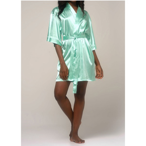 Women's Satin Kimono Short Robe | Color: Mint Green | Material: 95% Polyester 5% Spandex | Available Sizes: SmallMedium Large XX-Large (9060MNT)