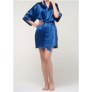 Women's Satin Kimono Short Robe | Color: Navy Blue | Material: 95% Polyester 5% Spandex | Available Sizes: SmallMedium Large XX-Large (9060NAVY)