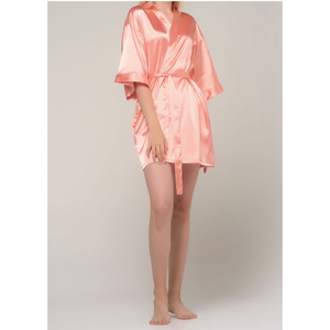 Women's Satin Kimono Short Robe | Color: Peach | Material: 95% Polyester 5% Spandex | Available Sizes: SmallMedium Large XX-Large (9060PCH)