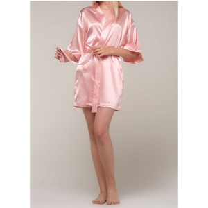 Women's Satin Kimono Short Robe | Color: Pink | Material: 95% Polyester 5% Spandex | Available Sizes: SmallMedium Large XX-Large (9060PNK)