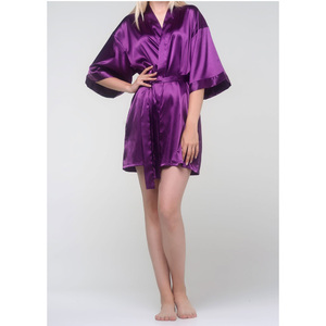 Women's Satin Kimono Short Robe | Color: Purple | Material: 95% Polyester 5% Spandex | Available Sizes: SmallMedium Large XX-Large (9060PUR)