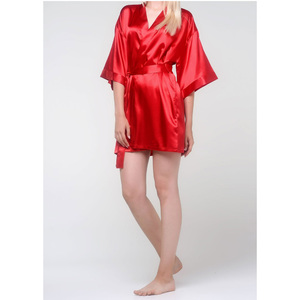 Women's Satin Kimono Short Robe | Color: Red | Material: 95% Polyester 5% Spandex | Available Sizes: SmallMedium Large XX-Large (9060RED)