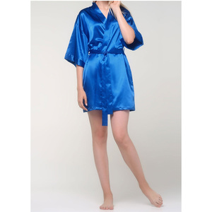 Women's Satin Kimono Short Robe | Color: Royal Blue | Material: 95% Polyester 5% Spandex | Available Sizes: SmallMedium Large XX-Large (9060RBL)