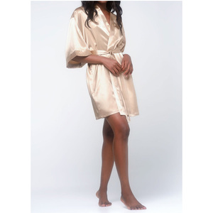 Women's Satin Kimono Short Robe | Color: Taupe | Material: 95% Polyester 5% Spandex | Available Sizes: SmallMedium Large XX-Large (9060TAU)