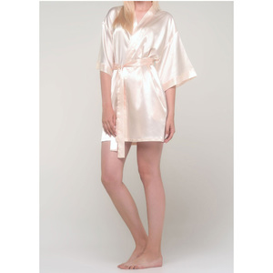 Women's Satin Kimono Short Robe | Color: White Peach | Material: 95% Polyester 5% Spandex | Available Sizes: SmallMedium Large XX-Large (9060WPCH)