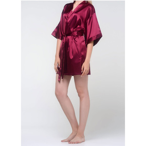 Women's Satin Kimono Short Robe | Color: Wine Red | Material: 95% Polyester 5% Spandex | Available Sizes: SmallMedium Large XX-Large (9060WRED)