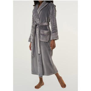 Women's Plush Soft Warm Fleece Robe | Color: Gray | Material: 100% Polyester Warm Fleece | Available Sizes: S M L XL XXL (6100GRY)