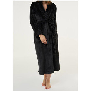 Women's Plush Soft Warm Fleece Robe | Color: Black | Material: 100% Polyester Warm Fleece | Available Sizes: S M L XL XXL (6100BLK)