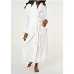 Women's Plush Soft Warm Fleece Robe | Color: White | Material: 100% Polyester Warm Fleece | Available Sizes: S M L XL XXL (6100WHT)