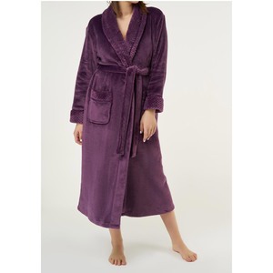 Women's Plush Soft Warm Fleece Robe | Color: Purple | Material: 100% Polyester Warm Fleece | Available Sizes: S M L XL XXL (6100PUR)
