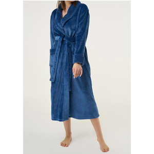 Women's Plush Soft Warm Fleece Robe | Color: Navy Blue | Material: 100% Polyester Warm Fleece | Available Sizes: S M L XL XXL (6100NAVY)
